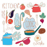 Set of kitchen doodles Stock Photo
