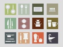 Set of Kitchen Equipment Flat Style Icon Stock Photos