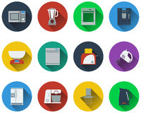 Set of kitchen equipment icons Stock Photos