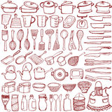 Set of kitchen goods doodle. Royalty Free Stock Photos