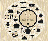 Set kitchen icons cooking foods Royalty Free Stock Photos