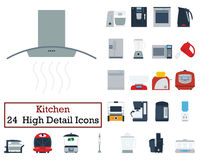 Set of 24 Kitchen Icons. Flat color design. Vector illustration Stock Photography
