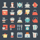 Set of kitchen icons in flat design Stock Photography