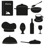 Set kitchen icons for restaurant cooking Royalty Free Stock Photo