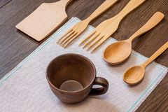 Set of kitchen items from environmentally friendly materials, s. Elling and buying kitchen utensils Stock Photo