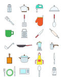 Set of kitchen items   icons. Set of 24 kitchen items variegated  icons Royalty Free Stock Photos