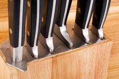 Set of kitchen knifes isolated on white Royalty Free Stock Photography