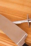 Set of kitchen knifes on wooden background Royalty Free Stock Image
