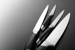 Set of kitchen knives. Set of professional kitchen knives royalty free stock images