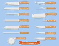 Set of kitchen knives. Kitchenware. Set of different kinds of knives. Flat style. Vector illustration Stock Photos