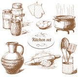 Set of kitchen objects Royalty Free Stock Images