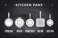 Set of kitchen pans. Poster Kitchenware - Pans, grill, pot. Vintage typographic hand-drawn pans silhouette on black chalkboard for restaurant menu, graphic Stock Photos