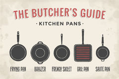 Set of kitchen pans. Poster Kitchenware - Pans, grill, pot. Vintage typographic hand-drawn pans silhouette for butcher shop, kitchen, restaurant menu, graphic Stock Photo