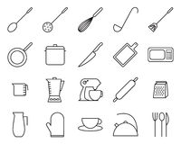 Set of kitchen related vector line icons. Contain icons such as knife, pan and blender. Editable stroke with 48 x 48 pixel Stock Photography
