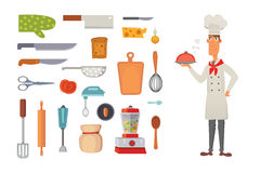 Set kitchen shelves and cooking utensils vector. Chef character concept cartool illustration. Royalty Free Stock Images