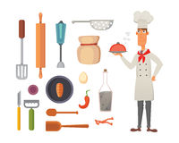 Set kitchen shelves and cooking utensils vector. Chef character concept cartool illustration. Royalty Free Stock Photo