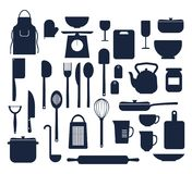 Set of kitchen things cooking icons silhouette. Isolated vector illustration. Dishes and cutlery for home Stock Image