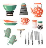 Set of kitchen tools, kitchenware and kitchen appliances. Dishes cups, teapots, grater, knives, spoons, pots, pans and others. Vector illustration isolated on royalty free illustration