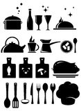 Set kitchen tools silhouette Stock Images