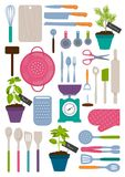 Set of kitchen tools. Vector illustration Royalty Free Stock Photography