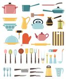 Set of kitchen utensil and collection of cookware Royalty Free Stock Image