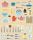 Set of kitchen utensil and collection of cookware Stock Image
