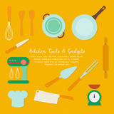Set of kitchen utensil and collection of cookware icons, cooking tools and kitchenware equipment. Stock Photography