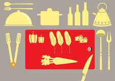 Set of kitchen utensil and collection of cookware,  illustrations Stock Images