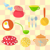 Set of Kitchen Utensil. Set of Cozy Kitchen Utensil made in Flat Style and Placed on the Tiled Background. Vector EPS 10 Stock Photos