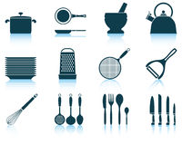 Set kitchen utensil icon Stock Photography