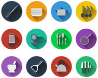 Set kitchen utensil icons Royalty Free Stock Images