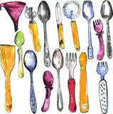 Set of  kitchen utensil Royalty Free Stock Photo