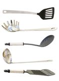 Set of Kitchen Utensils. Set of five high quality kitchen utensils isolated on white stock photos