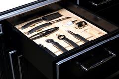 Set of kitchen utensils. In a drawer of modern kitchen Royalty Free Stock Photos