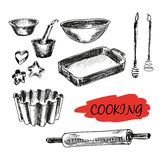 Set of kitchen utensils. All baking Royalty Free Stock Photo