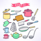 Set with kitchen utensils Stock Photography