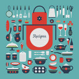 Set of kitchen utensils and food. Stock Photography