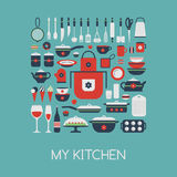 Set of kitchen utensils and food. Royalty Free Stock Photos