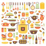 Set of kitchen utensils and food. Stock Images