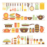 Set of kitchen utensils and food. Stock Image