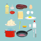 A set of kitchen utensils and food. Pan and casserole, meat and Royalty Free Stock Image