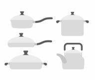 Set  kitchen utensils: frying pan and saucepan. Tea and roaster. Royalty Free Stock Photos