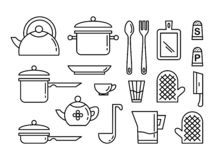 Set of kitchen utensils linear art icon. Collection of illustrations stock illustration
