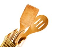 Set of kitchen utensils made of bamboo, isolated Royalty Free Stock Image