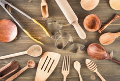 Set of kitchen utensils on the table Stock Images
