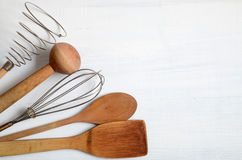 Set of kitchen utensils on a table Royalty Free Stock Image