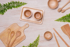 Set of kitchen utensils on vintage planked wood table from above Stock Photo