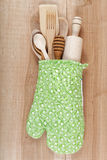 Set of kitchen utensils on wooden board Stock Photography
