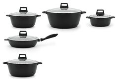 Set of kitchenware cast iron black steel isolate white background. Set of kitchenware cauldron casserole pan with glass lids black metal isolate on a white royalty free stock photography