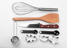 Set of kitchenware for cooking pastries. On white background Stock Photos
